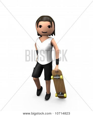 Young White 3D Male Holding Skateboard