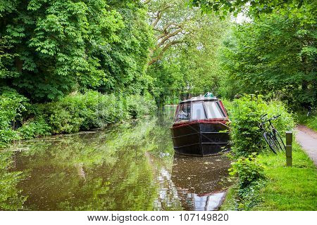 Boat On Canal. Oxford, England