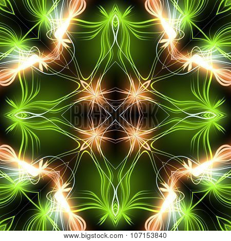 Abstract magic green glow - decorative pattern and shape