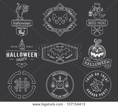 Happy Halloween Badges White On Black