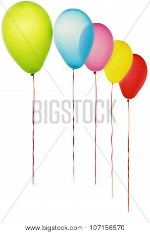 Color balloons isolated on white.