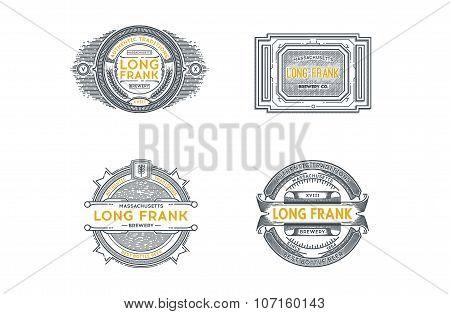 Set Of Retro Vintage Beer Badges, Labels, Logos. Stock Vector.