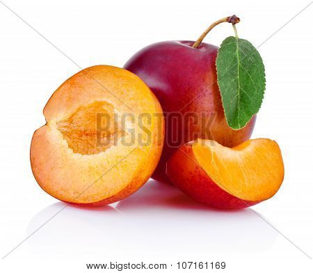 Fresh Plums Isolated On A White Background