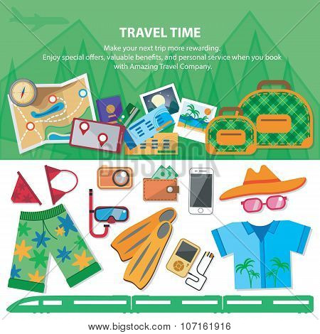Travel time.  Flat style travel blog icon set. Holiday vacation concept.