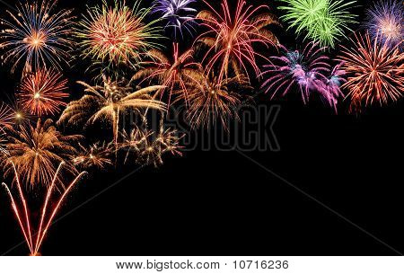 Colorful Fireworks With Copy-space