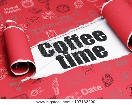 Time concept: black text Coffee Time under the piece of  torn paper