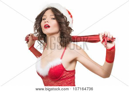 Sexy Snow Maiden with a whip. sex toy. santa girl