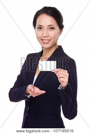 Asian Businesswoman show with blank namecard