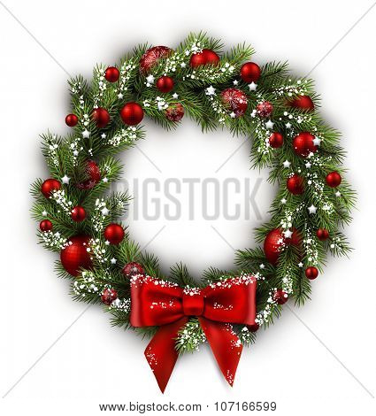 White card with Christmas wreath and bow. Vector illustration.