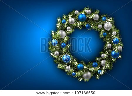 Blue card with Christmas wreath. Vector paper illustration.