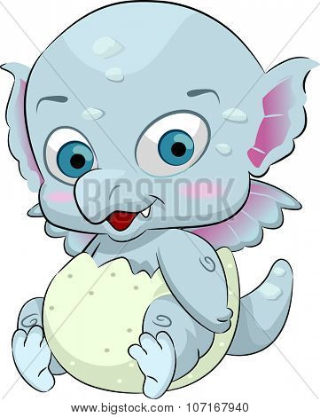 Illustration of a Cute Baby Dragon Coming Out of an Egg