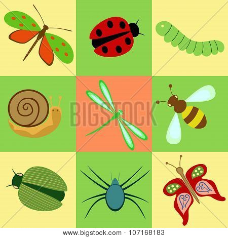 icons with insects