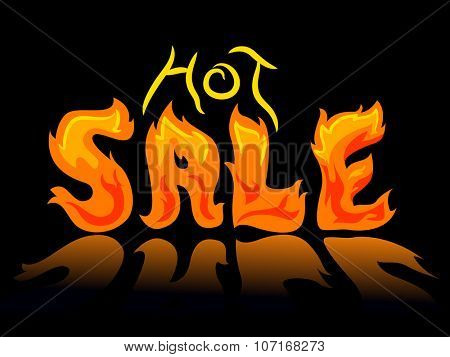Typography Illustration of Flames Forming the Words Hot Sale