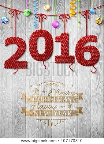 New Year 2016 Knitted Fabric As Christmas Decoration