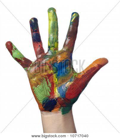 Farbe gemalt Kind Hand-Kunsthandwerk