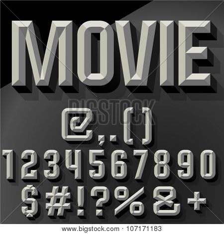Vector 3D   set of condense beveled numbers and symbols with shadow. Bicolored version.