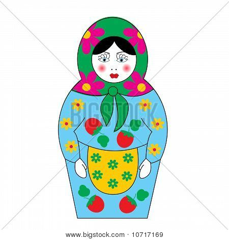 The Set Of Nesting Dolls Insulated On White Background.