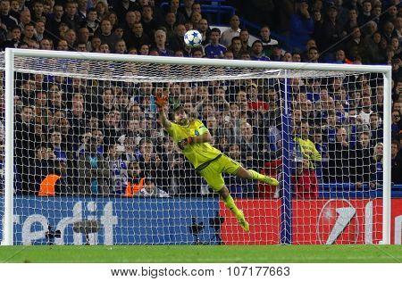 LONDON, ENGLAND - NOVEMBER 04 2015: goalkeeper Oleksandr Shovkovskiy of Dynamo Kyiv concedes a goal during the UEFA Champions League match between Chelsea and Dynamo Kyiv at Stamford Bridge