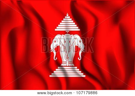 Flag of the Kingdom of Laos. Rectangular Shape Icon with Wavy Effect poster