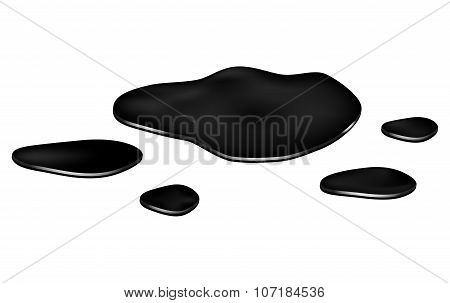 Puddle Of Oil Slick Spill Clipart. Brown Stain, Plash, Drop. Vector Illustration Isolated On The Whi