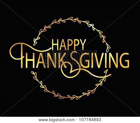 Happy Thanksgiving Day Gold Logotype, Badge And Icon