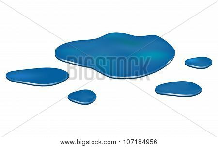 Puddle Of Water Spill Clipart. Blue Stain, Plash, Drop. Vector Illustration Isolated On The White Ba