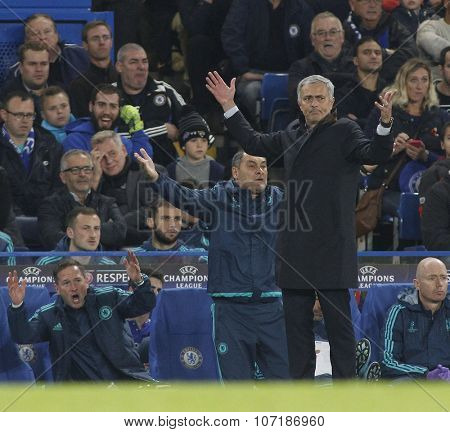 LONDON, ENGLAND - NOVEMBER 04 2015: Manager Jose Mourinho of Chelsea during the UEFA Champions League match between Chelsea and Dynamo Kyiv at Stamford Bridge