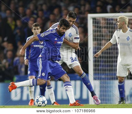 LONDON, ENGLAND - NOVEMBER 04 2015: Diego Costa of Chelsea during the UEFA Champions League match between Chelsea and Dynamo Kyiv at Stamford Bridge on November 04, 2015 in London, United Kingdom.