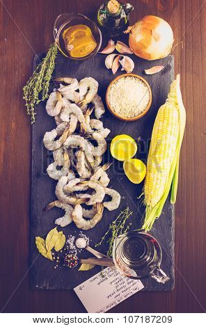 Corn Risotto With Roasted Shrimp