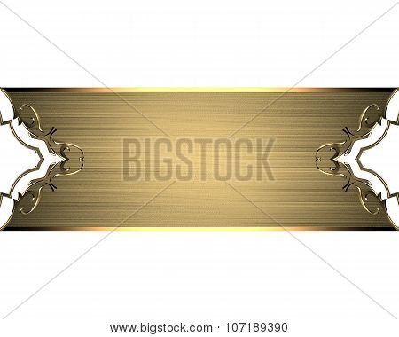 Golden Plate For Text On A White Background. Element For Design. Template For Design. Copy Space For