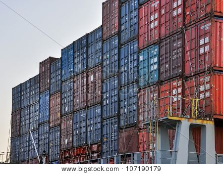 Freight Containers In Sea Cargo Port