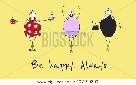 Happy big woman in different situations