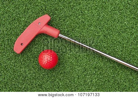 Red Mini Golf Putter And Ball