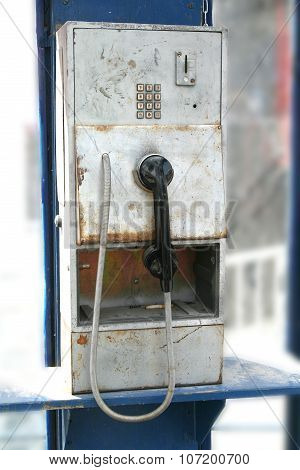 Old Worn Publin Phone In Phone Box