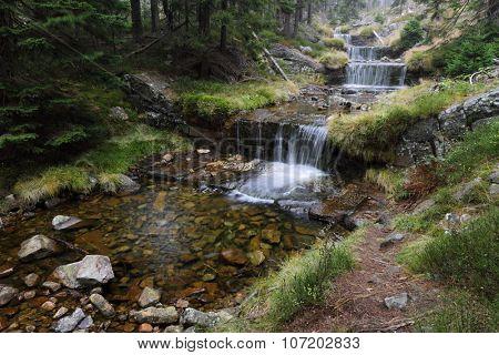 Autumn cascade river name Labe, Czech Republic,Europe