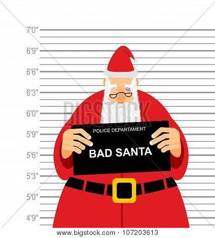 Mugshot Is Bad Santa. Arrested Sana Claus At  Police Station Holding A Sign. Christmas  Offender In