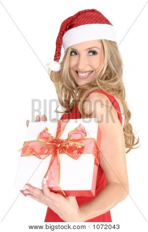 Smiling Girl With A Christmas Gift
