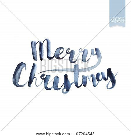 Wet brush watercolor lettering that says Merry Christmas. Vector.