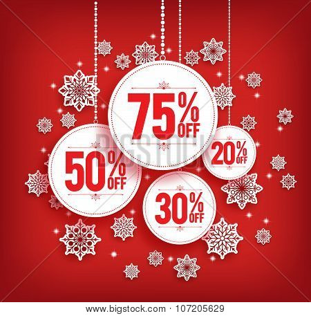 Christmas Sale Discount Hanging with Snowflakes in Red