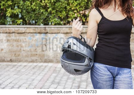 Woman Biker And Her Helmet