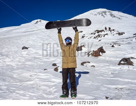 Snowboarder In The Mountains Elbrus