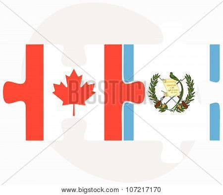 Canada And Guatemala Flags