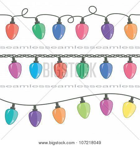Vector Seamless Strings Of Christmas Light Lamps