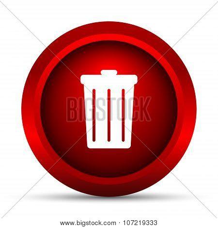 Bin icon. Internet button on white background. poster