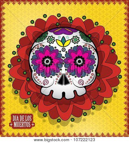 Day Of The Dead Skull Vector poster background. Dia de los muertos poster