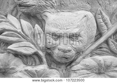 Small fragment the stucco bas-relief in thai stlye Thailan poster