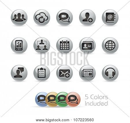 Business Technology Icons // Metal Round Series -- The vector file includes 5 color versions for each icon in different layers.