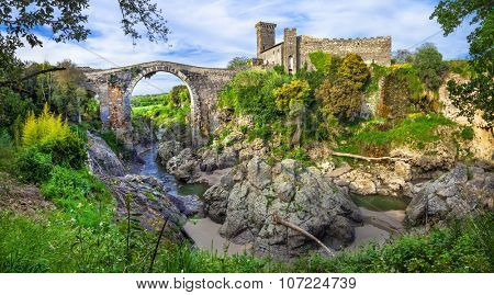 ancient Etruscan city' ruins in Vulci -Italy, Viterbo province