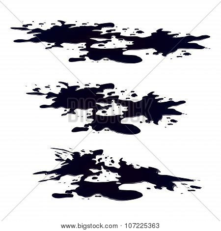 Puddle of oil slick spill clipart. Black silhouette stain plash drop. Vector illustration isolated on the white background poster