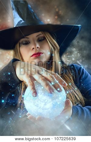witch with magic ball